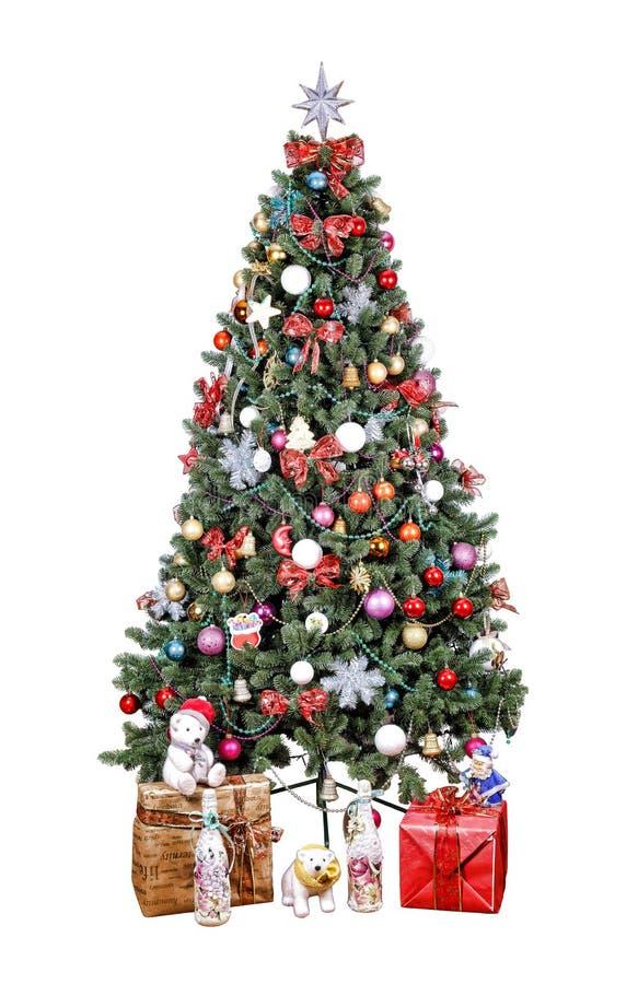 Árbol de navidad, bolas adornadas, multicoloras, remiendo del oro, fotografía de archivo libre de regalías