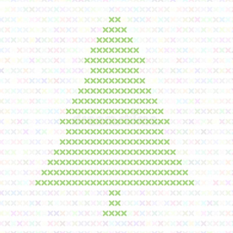 Árbol de navidad, bordado con una cruz El esquema para el bordado ilustración del vector
