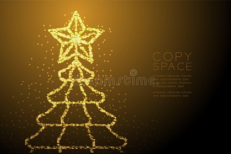 Árbol de navidad brillante abstracto del modelo de estrella de Bokeh con la forma de la estrella, illustratio del color oro del d ilustración del vector
