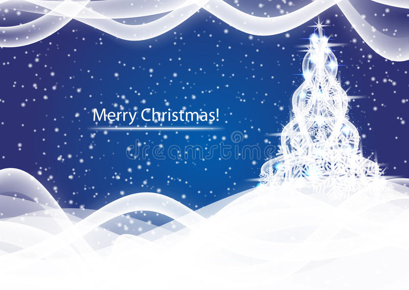 Árbol de navidad brillante en fondo azul del extracto de la ventisca stock de ilustración
