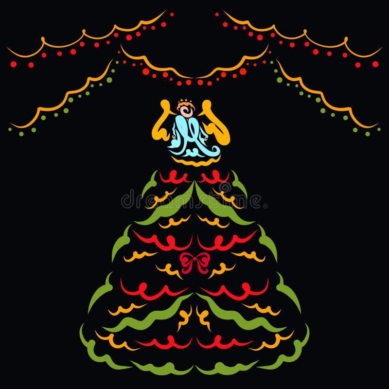 Árbol de navidad colorido con ángel en el top, guirnaldas, fondo stock de ilustración