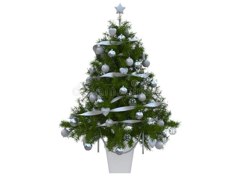 Árbol de navidad colorido con la decoración de las bolas de la Navidad blanca y roja y una representación de plata de la cinta 3d ilustración del vector