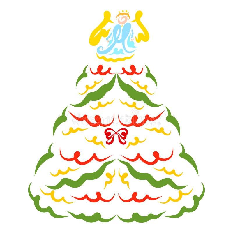 Árbol de navidad colorido elegante con ángel y guirnaldas y arco ilustración del vector