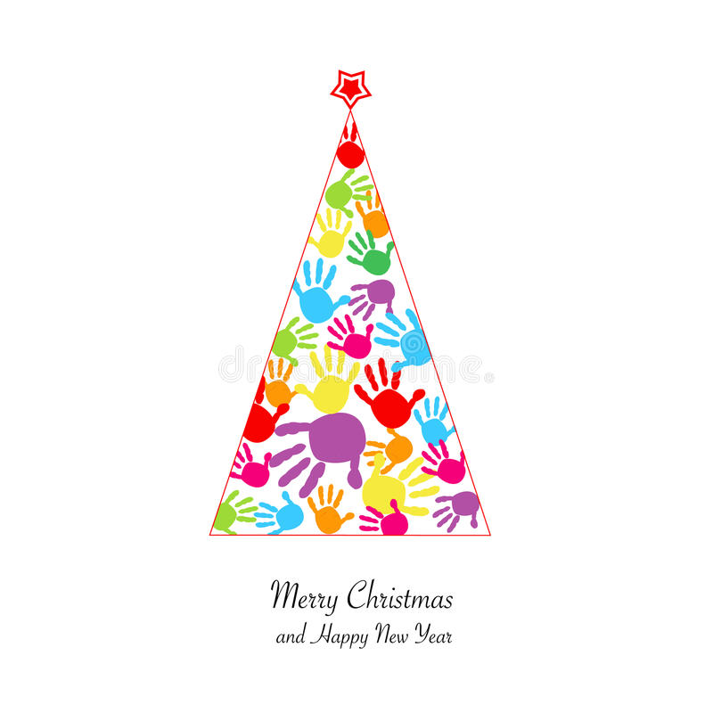 Árbol de navidad con el fondo colorido del vector de la impresión de la mano del bebé libre illustration