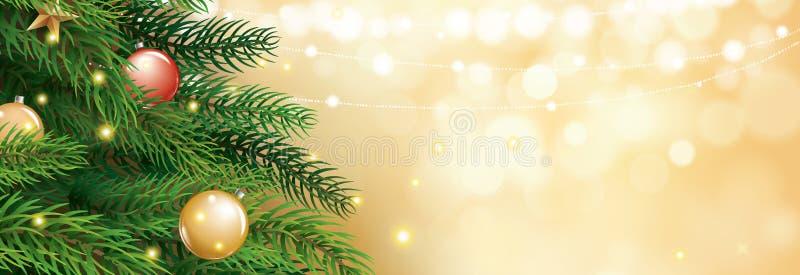 Árbol de navidad con el fondo de las luces del bokeh de la falta de definición del oro Vector IL libre illustration