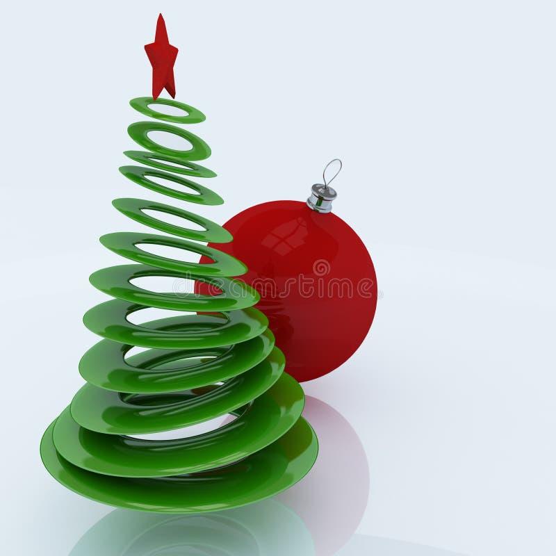 Árbol de navidad con el globo rojo stock de ilustración