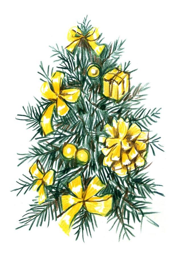 Árbol de navidad con el llustration dibujado mano de las bolas Bosquejo realista del lápiz ilustración del vector