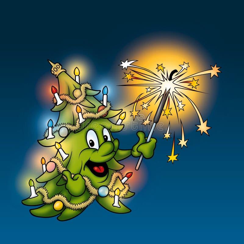 Árbol de navidad con el sparkler libre illustration