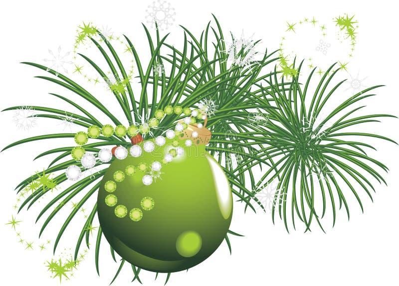 Árbol de navidad con la bola y el oropel verdes ilustración del vector