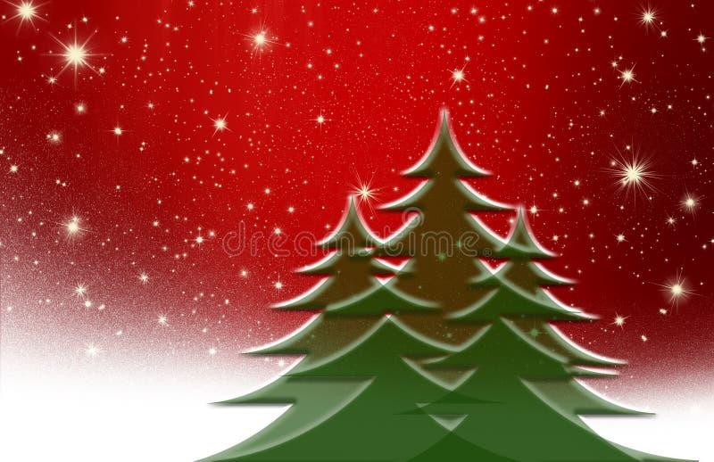 Árbol de navidad, con la estrella, fondo stock de ilustración