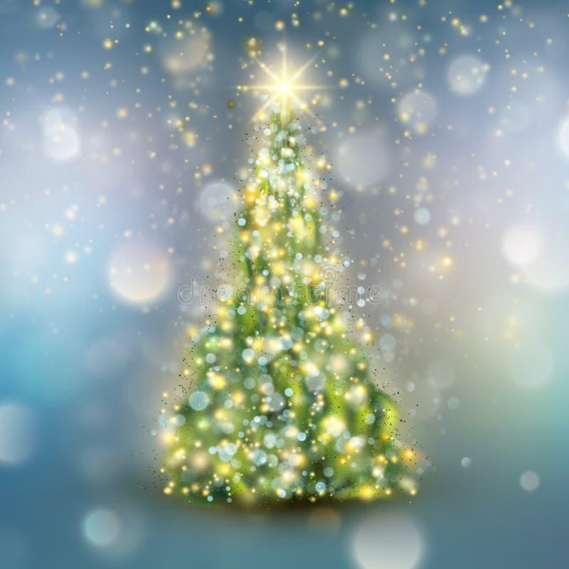 Árbol de navidad con la luz defocused Vector del EPS 10 libre illustration