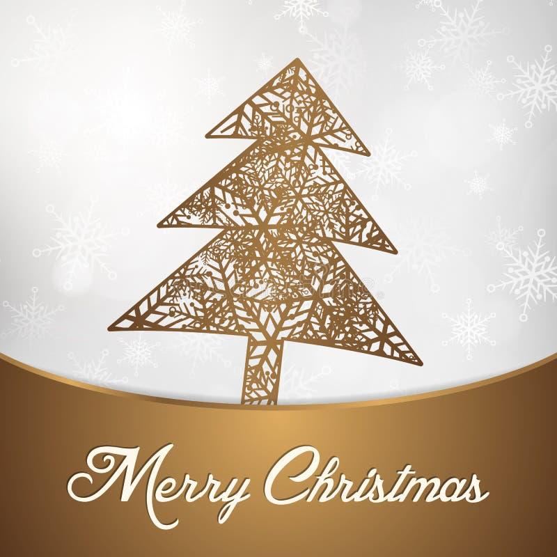 Árbol de navidad con la tarjeta de felicitación del fondo del copo de nieve stock de ilustración