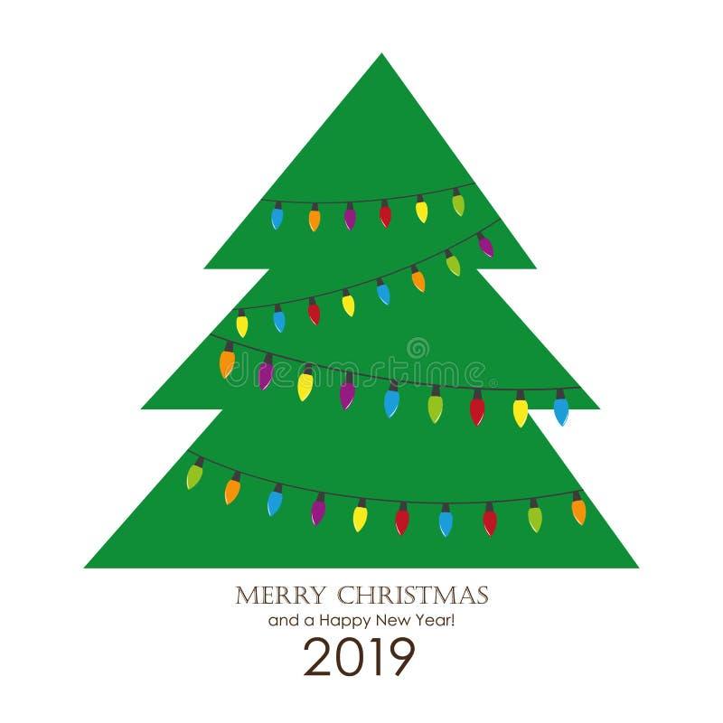 Árbol de navidad con la tarjeta de felicitación colorida de las luces de hadas stock de ilustración