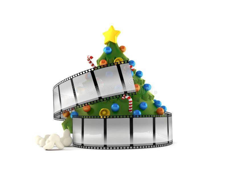 Árbol de navidad con la tira de la película stock de ilustración