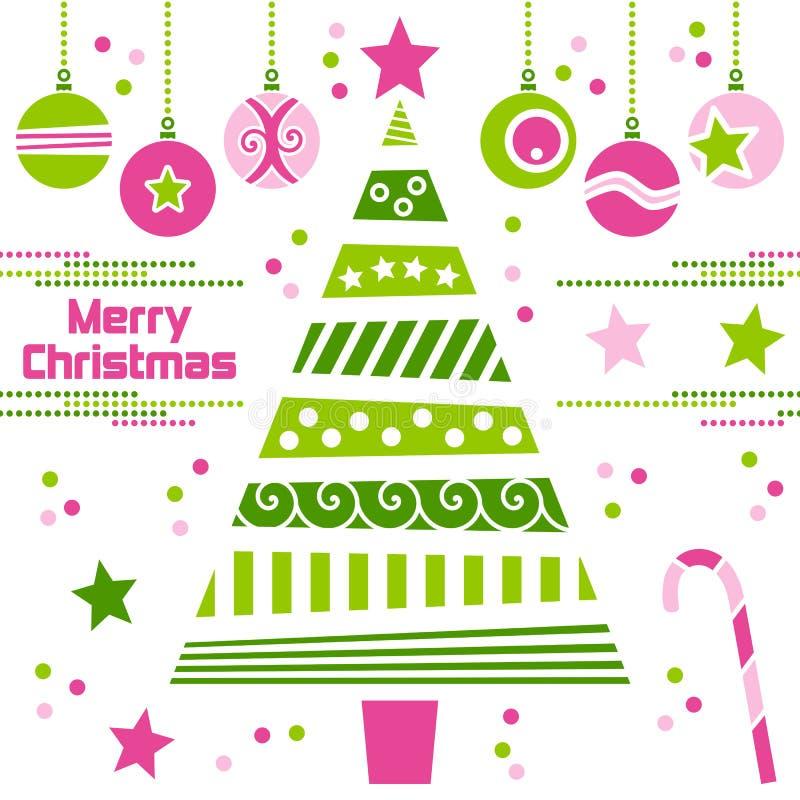 Árbol de navidad con las bolas ilustración del vector