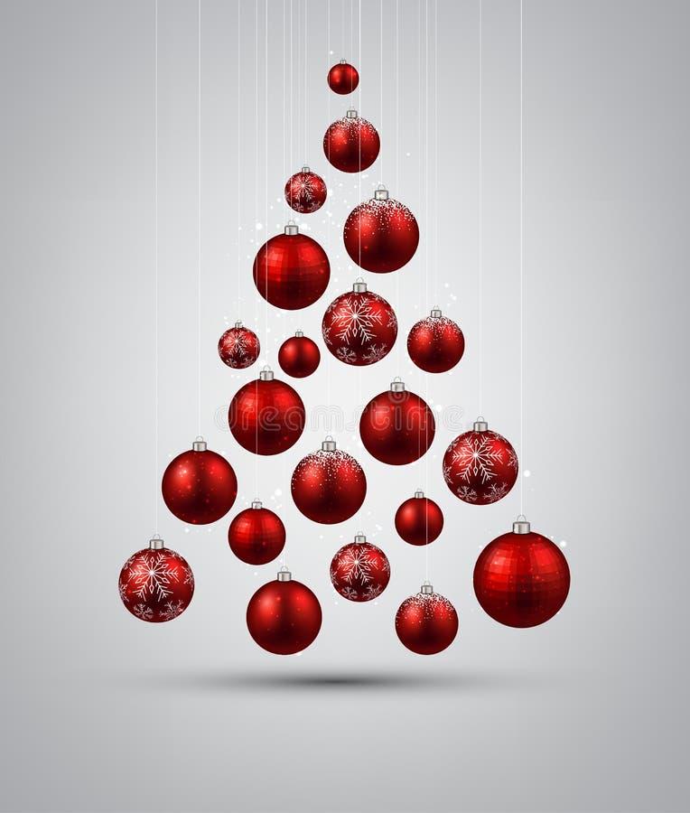Rbol de navidad con las bolas rojas de la navidad for Arbol de navidad con bolas rojas