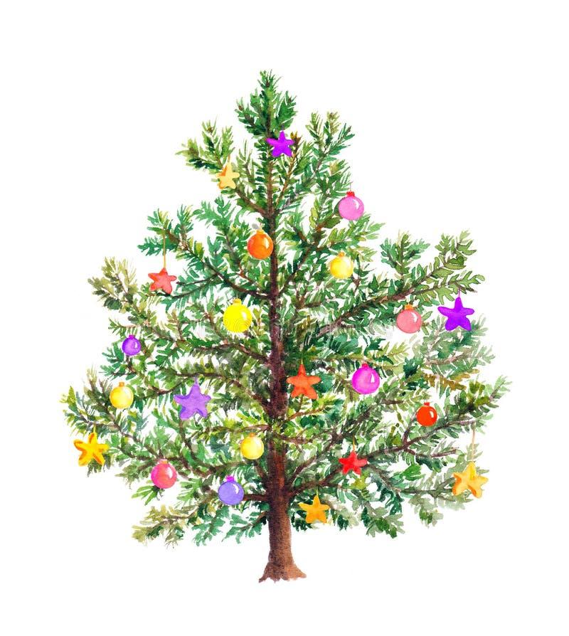 Árbol de navidad con las chucherías decorativas watercolor fotos de archivo libres de regalías