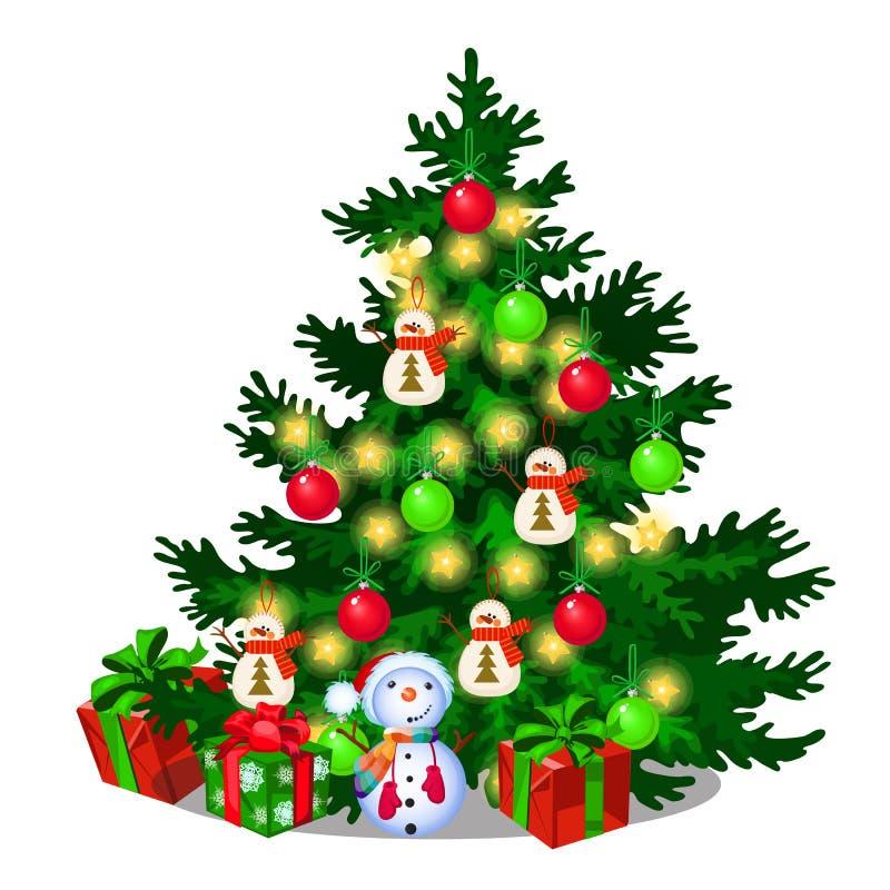 Árbol de navidad con las decoraciones, cajas de regalo, chucherías, muñeco de nieve aislado en el fondo blanco Bosquejo de la Nav libre illustration