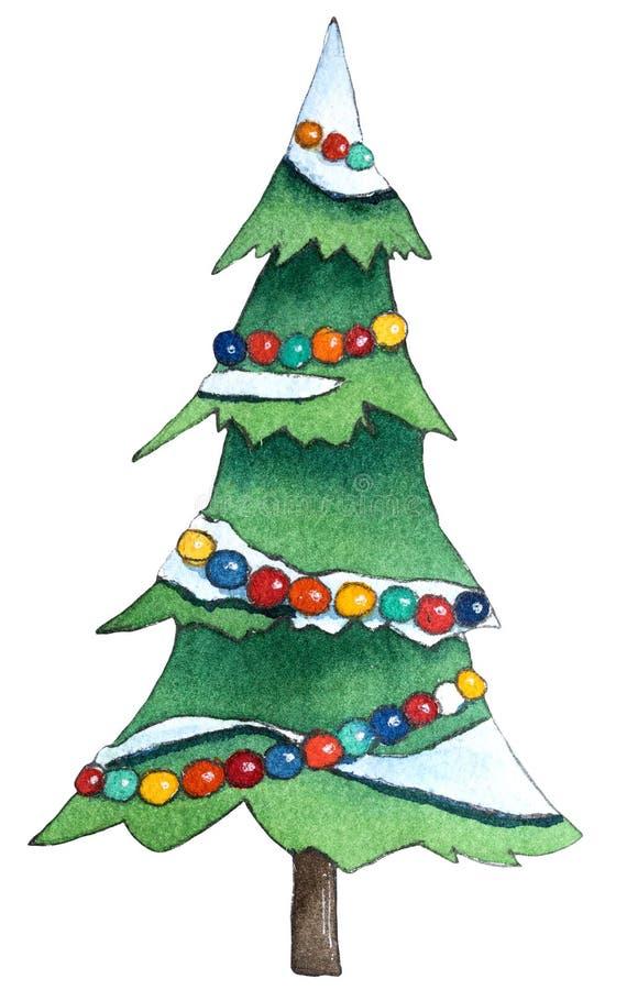 Árbol de navidad con las decoraciones Ejemplo dibujado mano de la acuarela libre illustration