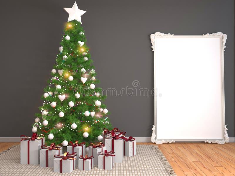 Árbol de navidad con las decoraciones en la sala de estar illustrat 3d ilustración del vector