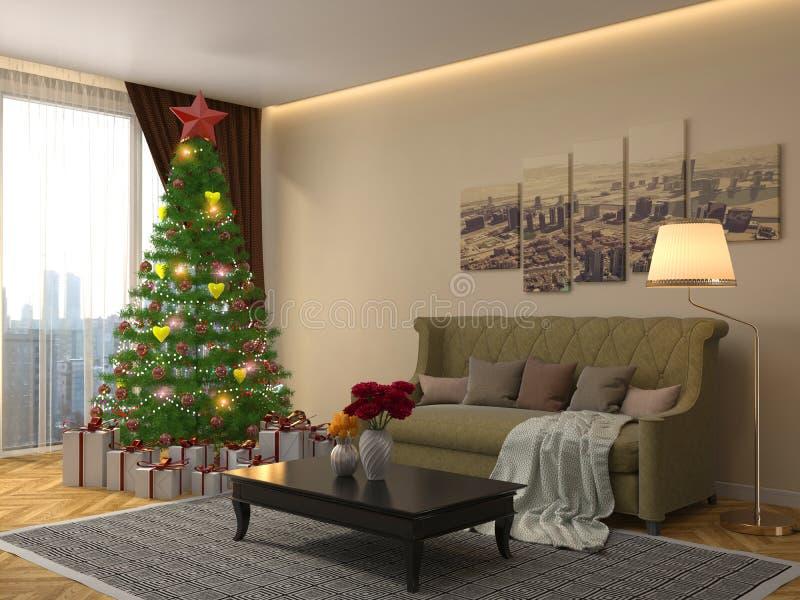 Árbol de navidad con las decoraciones en la sala de estar illustrat 3d libre illustration