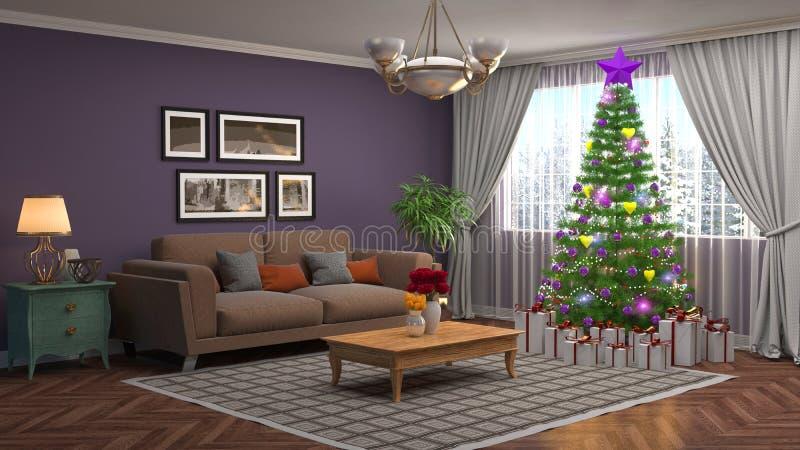 Árbol de navidad con las decoraciones en la sala de estar illustrat 3d stock de ilustración