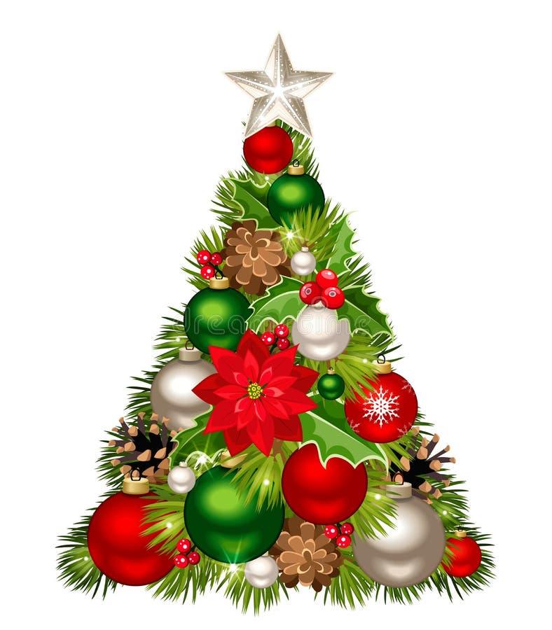 Árbol de navidad con las decoraciones rojas, verdes y de plata Ilustración del vector libre illustration