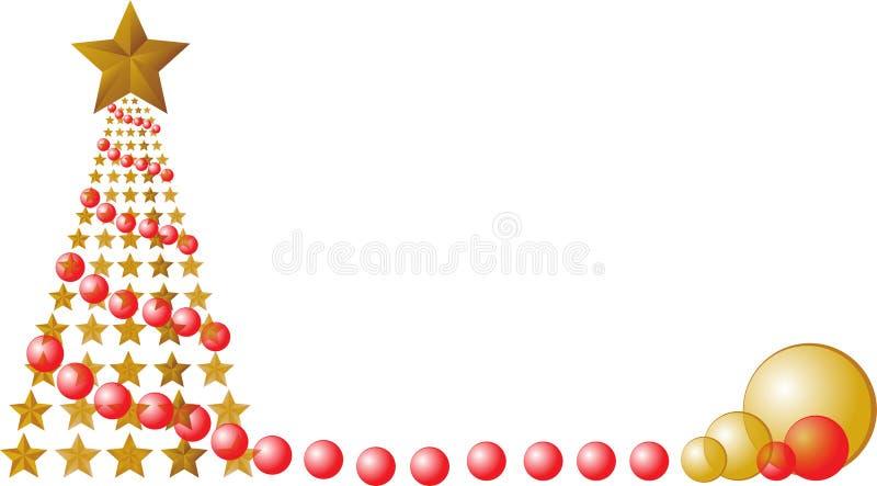 Árbol de navidad con las estrellas y las bolas rojas libre illustration