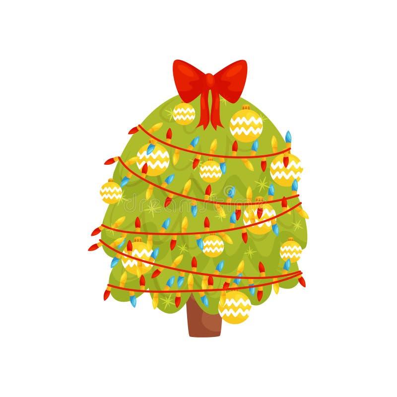 Árbol de navidad con las luces, las bolas y el arco en el top Abeto verde grande Tema de los días de fiesta de invierno Elemento  ilustración del vector