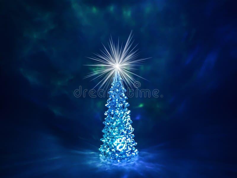 Árbol de navidad con las luces que brillan intensamente en una guirnalda y una estrella brillante en la corona en un fondo azul m imágenes de archivo libres de regalías