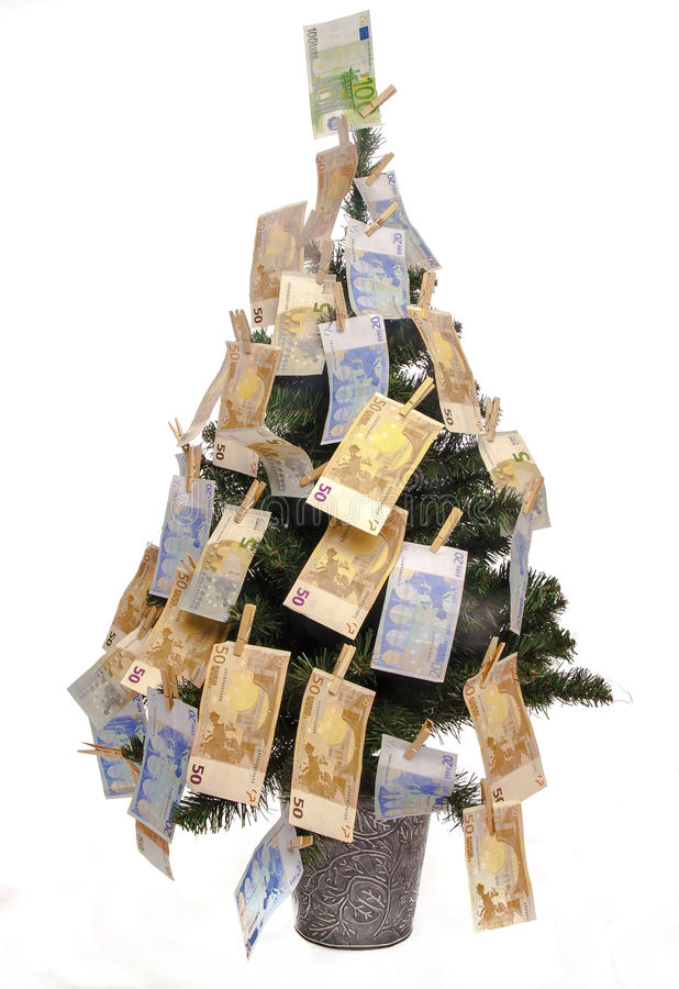 Árbol de navidad con las notas euro fotografía de archivo