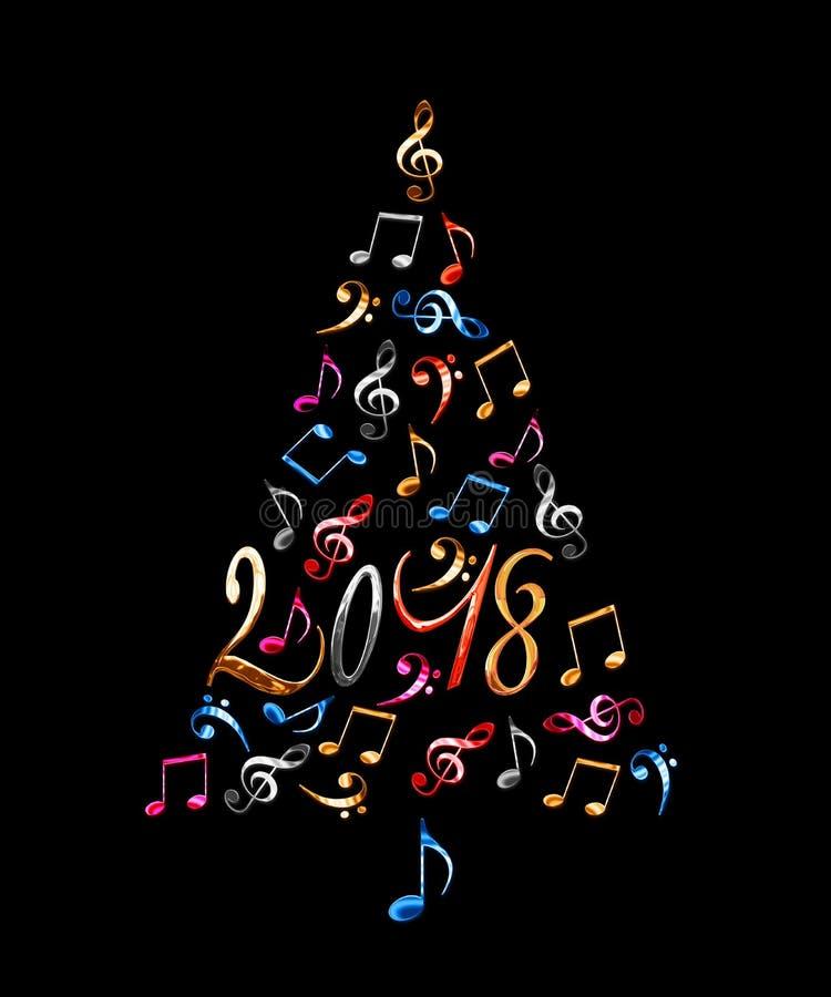 árbol de navidad 2018 con las notas musicales del metal plateado aisladas en fondo negro ilustración del vector