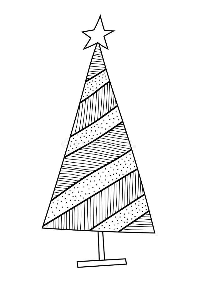 Árbol De Navidad Con Los Modelos Decorativos Ejemplo Blanco Y Negro ...