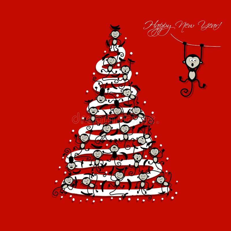 Árbol de navidad con los monos divertidos para su diseño stock de ilustración
