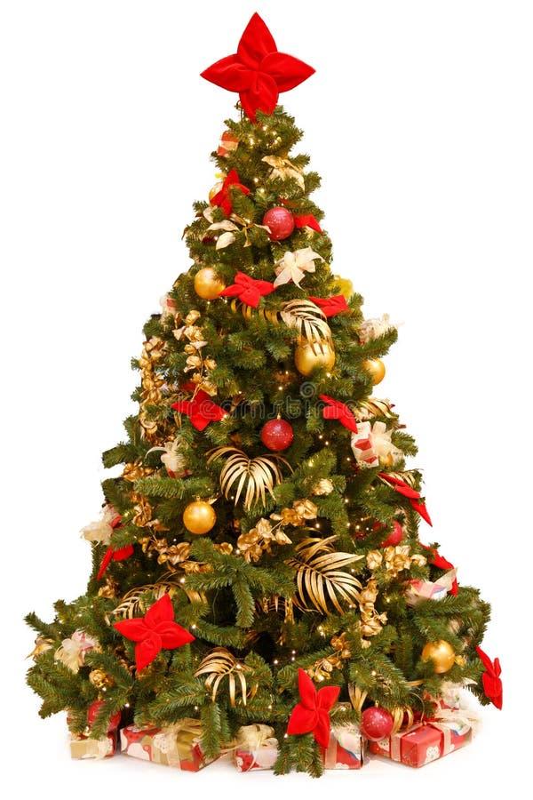 Árbol de navidad con los ornamentos coloridos, aislados en blanco foto de archivo libre de regalías
