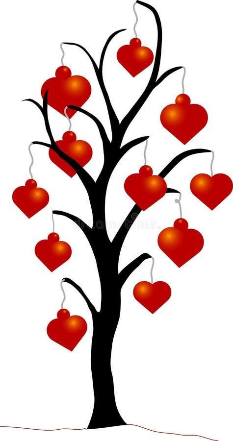Árbol de navidad con los ornamentos del corazón stock de ilustración