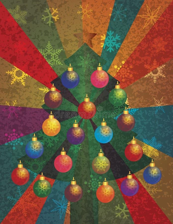 Árbol de navidad con los ornamentos en fondo de los rayos stock de ilustración