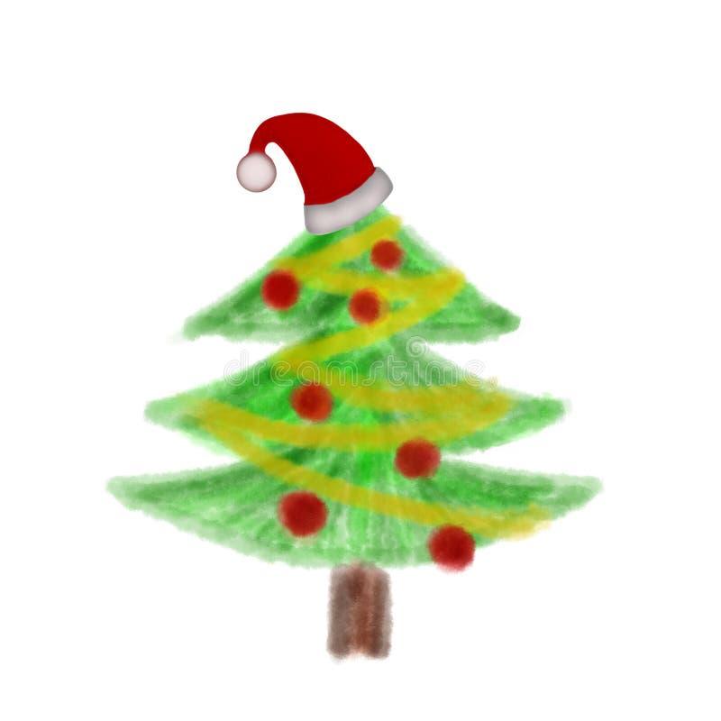 Árbol de navidad con los ornamentos y el sombrero de Santa Claus fotografía de archivo