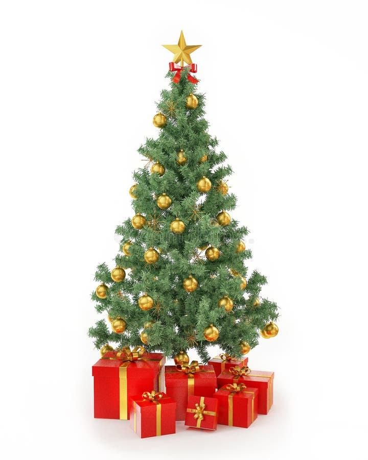 Árbol de navidad con los presentes aislados en el fondo blanco ilustración del vector