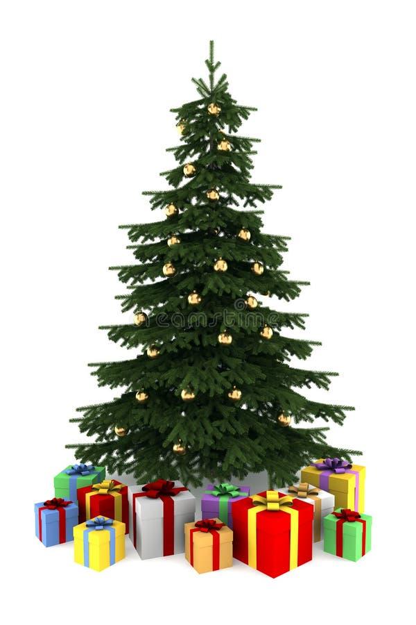 Árbol de navidad con los rectángulos de regalo del color aislados libre illustration