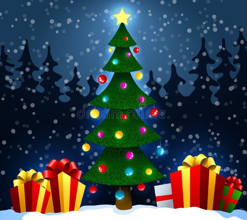 Árbol de navidad con los regalos en nieve en el fondo de la Navidad del bosque del invierno y del Año Nuevo Ilustración del vecto ilustración del vector