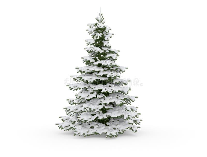 Árbol de navidad con nieve libre illustration