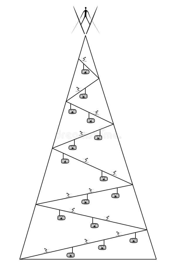Árbol de navidad con tema del esquí ilustración del vector