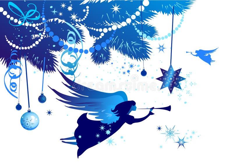 Árbol de navidad con un ángel ilustración del vector