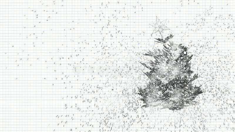 Árbol de navidad con una estrella stock de ilustración
