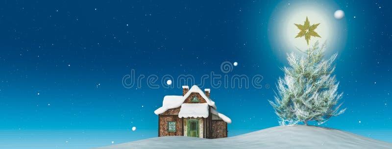 Árbol de navidad con una estrella libre illustration
