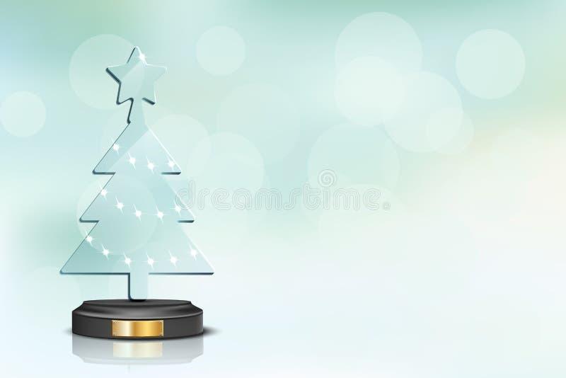 Árbol de navidad de cristal en fondo borroso de las vacaciones de invierno Modelo del diseño de la Navidad del vector y del Año N ilustración del vector
