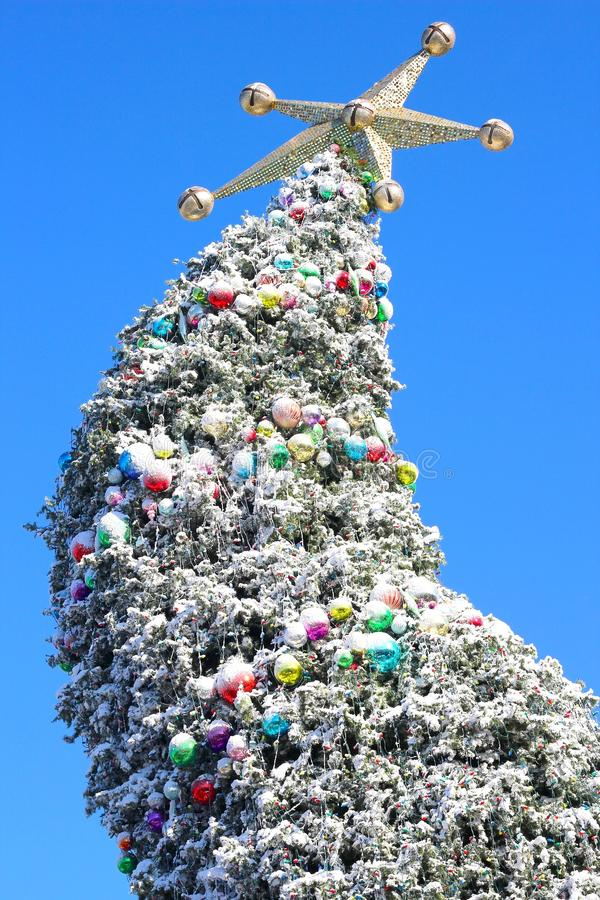 Árbol de navidad curvado gigante con la estrella de oro foto de archivo
