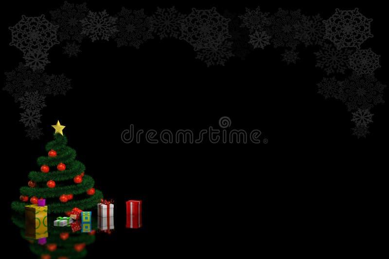 árbol de navidad 3D con las bolas y los regalos rojos en un fondo negro con los copos de nieve stock de ilustración