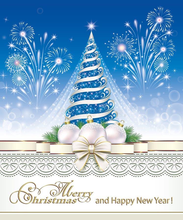 Árbol de navidadde con los fuegos artificiales stock de ilustración